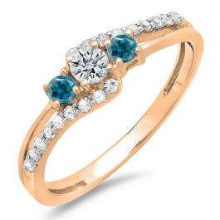 0.45 Carat (ctw) 10K Rose Gold Round Blue & White Diamond Ladies 3 Stone Bridal Engagement Promise Ring 1/2 CT