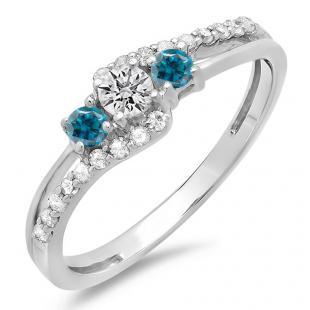 0.45 Carat (ctw) 18K White Gold Round Blue & White Diamond Ladies 3 Stone Bridal Engagement Promise Ring 1/2 CT