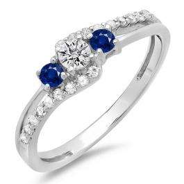 0.45 Carat (ctw) 18K White Gold Round Blue Sapphire & White Diamond Ladies 3 Stone Bridal Engagement Promise Ring 1/2 CT