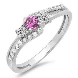 0.45 Carat (ctw) 10K White Gold Round Pink Sapphire & White Diamond Ladies 3 Stone Bridal Engagement Promise Ring 1/2 CT
