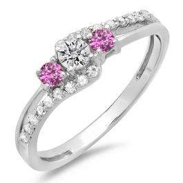 0.45 Carat (ctw) 14K White Gold Round Pink Sapphire & White Diamond Ladies 3 Stone Bridal Engagement Promise Ring 1/2 CT