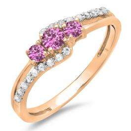 0.45 Carat (ctw) 10K Rose Gold Round Pink Sapphire & White Diamond Ladies 3 Stone Bridal Engagement Promise Ring 1/2 CT