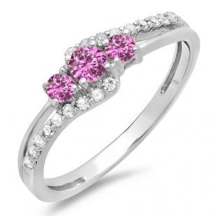0.45 Carat (ctw) 18K White Gold Round Pink Sapphire & White Diamond Ladies 3 Stone Bridal Engagement Promise Ring 1/2 CT