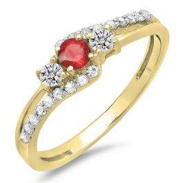 0.45 Carat (ctw) 14K Yellow Gold Round Red Ruby & White Diamond Ladies 3 Stone Bridal Engagement Promise Ring 1/2 CT