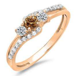 0.45 Carat (ctw) 14K Rose Gold Round Champagne & White Diamond Ladies 3 Stone Bridal Engagement Promise Ring 1/2 CT
