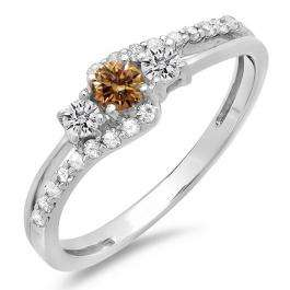 0.45 Carat (ctw) 14K White Gold Round Champagne & White Diamond Ladies 3 Stone Bridal Engagement Promise Ring 1/2 CT