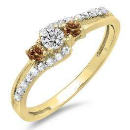 0.45 Carat (ctw) 18K Yellow Gold Round Champagne & White Diamond Ladies 3 Stone Bridal Engagement Promise Ring 1/2 CT