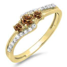 0.45 Carat (ctw) 10K Yellow Gold Round Champagne & White Diamond Ladies 3 Stone Bridal Engagement Promise Ring 1/2 CT