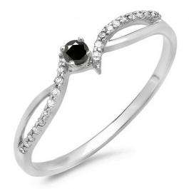 0.15 Carat (ctw) 10K White Gold Round Black & White Diamond Ladies Crossover Split Shank Bridal Promise Engagement Ring