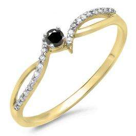 0.15 Carat (ctw) 10K Yellow Gold Round Black & White Diamond Ladies Crossover Split Shank Bridal Promise Engagement Ring