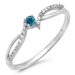 0.15 Carat (ctw) 10K White Gold Round Blue & White Diamond Ladies Crossover Split Shank Bridal Promise Engagement Ring