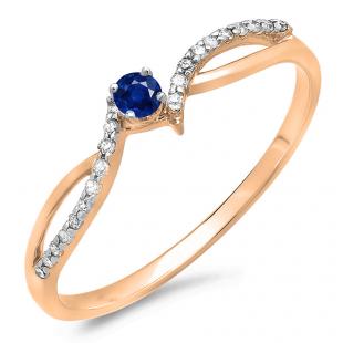 0.15 Carat (ctw) 14K Rose Gold Round Blue Sapphire & White Diamond Ladies Crossover Split Shank Bridal Promise Engagement Ring