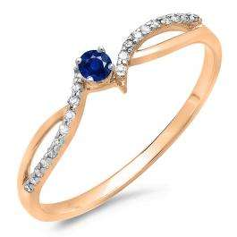0.15 Carat (ctw) 18K Rose Gold Round Blue Sapphire & White Diamond Ladies Crossover Split Shank Bridal Promise Engagement Ring