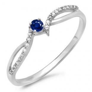 0.15 Carat (ctw) 18K White Gold Round Blue Sapphire & White Diamond Ladies Crossover Split Shank Bridal Promise Engagement Ring