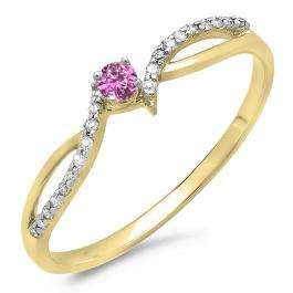 0.15 Carat (ctw) 10K Yellow Gold Round Pink Sapphire & White Diamond Ladies Crossover Split Shank Bridal Promise Engagement Ring