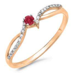 0.15 Carat (ctw) 10K Rose Gold Round Red Ruby & White Diamond Ladies Crossover Split Shank Bridal Promise Engagement Ring