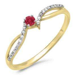 0.15 Carat (ctw) 10K Yellow Gold Round Red Ruby & White Diamond Ladies Crossover Split Shank Bridal Promise Engagement Ring