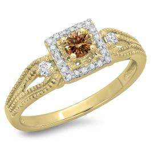 0.40 Carat (ctw) 14K Yellow Gold Round Cut Champagne & White Diamond Ladies Bridal Vintage Halo Style Engagement Ring