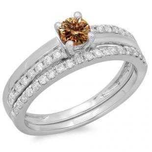 0.75 Carat (ctw) 14K White Gold Round Cut Champagne & White Diamond Ladies Bridal Engagement Ring With Matching Band Set 3/4 CT