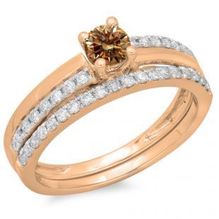 0.75 Carat (ctw) 18K Rose Gold Round Cut Champagne & White Diamond Ladies Bridal Engagement Ring With Matching Band Set 3/4 CT