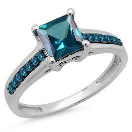 1.60 Carat (ctw) 14K White Gold Princess & Round Cut London Blue Topaz Ladies Bridal Solitaire With Accents Engagement Ring