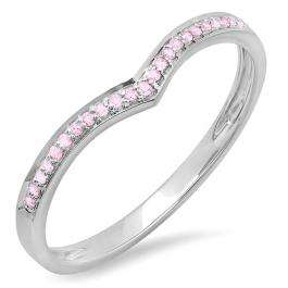 0.10 Carat (ctw) 18k White Gold Round Real Pink Sapphire Ladies Wedding Stackable Band Anniversary Guard Chevron Ring 1/10 CT