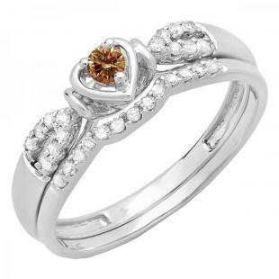 0.25 Carat (ctw) 10k White Gold Round Champagne & White Diamond Ladies Heart Shaped Bridal Engagement Ring Matching Band Set 1/4 CT