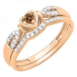 0.25 Carat (ctw) 18k Rose Gold Round Champagne & White Diamond Ladies Heart Shaped Bridal Engagement Ring Matching Band Set 1/4 CT