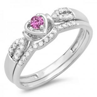 0.25 Carat (ctw) 10k White Gold Round Pink Sapphire & White Diamond Ladies Heart Shaped Bridal Engagement Ring Matching Band Set 1/4 CT