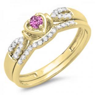 0.25 Carat (ctw) 14k Yellow Gold Round Pink Sapphire & White Diamond Ladies Heart Shaped Bridal Engagement Ring Matching Band Set 1/4 CT