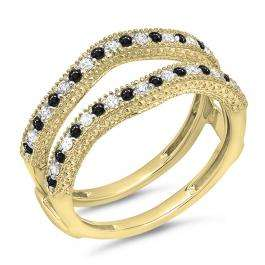 0.45 Carat (ctw) 18K Yellow Gold Round Black & White Diamond Ladies Anniversary Wedding Band Millgrain Guard Double Ring 1/2 CT