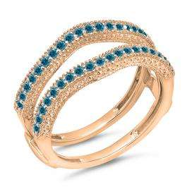 0.45 Carat (ctw) 14K Rose Gold Round Blue Diamond Ladies Anniversary Wedding Band Millgrain Guard Double Ring 1/2 CT