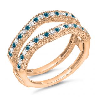 0.45 Carat (ctw) 18K Rose Gold Round Blue & White Diamond Ladies Anniversary Wedding Band Millgrain Guard Double Ring 1/2 CT