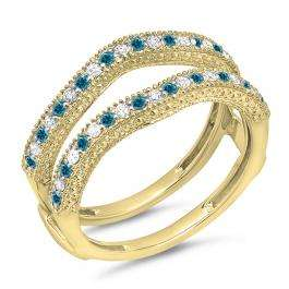 0.45 Carat (ctw) 18K Yellow Gold Round Blue & White Diamond Ladies Anniversary Wedding Band Millgrain Guard Double Ring 1/2 CT