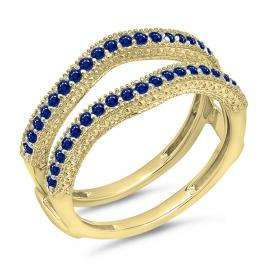 0.45 Carat (ctw) 18K Yellow Gold Round Blue Sapphire Ladies Anniversary Wedding Band Millgrain Guard Double Ring 1/2 CT