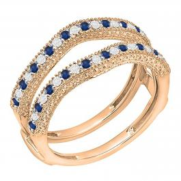 0.45 Carat (ctw) 18K Rose Gold Round Blue Sapphire & White Diamond Ladies Anniversary Wedding Band Millgrain Guard Double Ring 1/2 CT