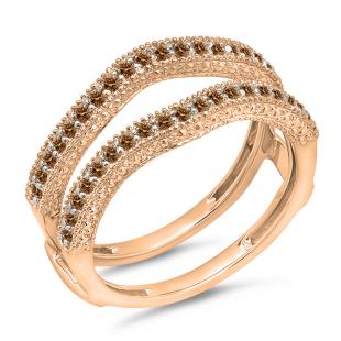 0.45 Carat (ctw) 10K Rose Gold Round Champagne Diamond Ladies Anniversary Wedding Band Millgrain Guard Double Ring 1/2 CT