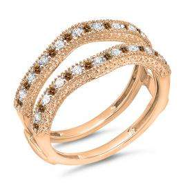 0.45 Carat (ctw) 14K Rose Gold Round Champagne & White Diamond Ladies Anniversary Wedding Band Millgrain Guard Double Ring 1/2 CT