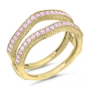 0.45 Carat (ctw) 10K Yellow Gold Round Pink Sapphire Ladies Anniversary Wedding Band Millgrain Guard Double Ring 1/2 CT
