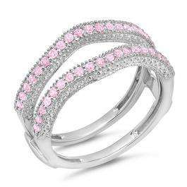 0.45 Carat (ctw) 18K White Gold Round Pink Sapphire Ladies Anniversary Wedding Band Millgrain Guard Double Ring 1/2 CT