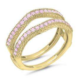 0.45 Carat (ctw) 18K Yellow Gold Round Pink Sapphire Ladies Anniversary Wedding Band Millgrain Guard Double Ring 1/2 CT