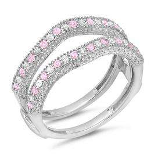 0.45 Carat (ctw) 18K White Gold Round Pink Sapphire & White Diamond Ladies Anniversary Wedding Band Millgrain Guard Double Ring 1/2 CT