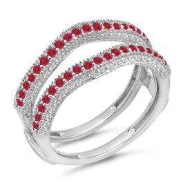 0.45 Carat (ctw) 18K White Gold Round Red Ruby Ladies Anniversary Wedding Band Millgrain Guard Double Ring 1/2 CT