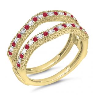 0.45 Carat (ctw) 18K Yellow Gold Round Red Ruby & White Diamond Ladies Anniversary Wedding Band Millgrain Guard Double Ring 1/2 CT