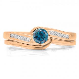 0.50 Carat (ctw) 14K Rose Gold Round Blue & White Diamond Ladies Bridal Engagement Ring Set Matching Band 1/2 CT