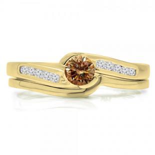 0.50 Carat (ctw) 10K Yellow Gold Round Champagne & White Diamond Ladies Bridal Engagement Ring Set Matching Band 1/2 CT