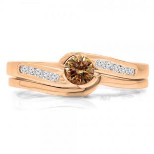 0.50 Carat (ctw) 14K Rose Gold Round Champagne & White Diamond Ladies Bridal Engagement Ring Set Matching Band 1/2 CT