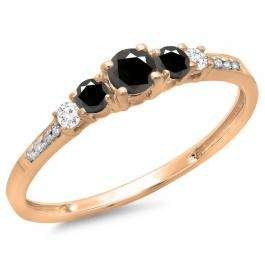 0.40 Carat (ctw) 10K Rose Gold Round Cut Black & White Diamond Ladies Bridal 5 Stone Engagement Ring