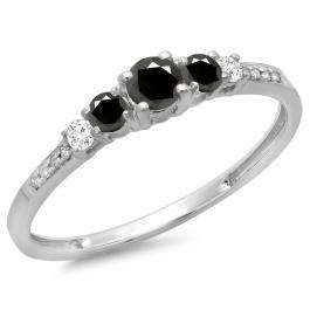 0.40 Carat (ctw) 14K White Gold Round Cut Black & White Diamond Ladies Bridal 5 Stone Engagement Ring