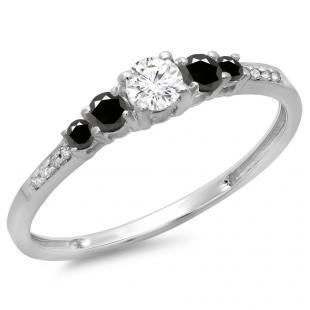0.40 Carat (ctw) 10K White Gold Round Cut Black & White Diamond Ladies Bridal 5 Stone Engagement Ring